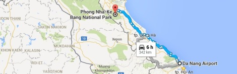 Tourist map - Danang Airport to Phong Nha