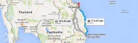 Tourist map Danang to Nha Trang