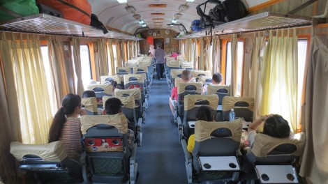 Our train to Danang from Hue – soft seat $4 per ticket.